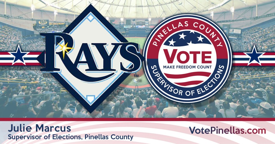 Logos of Tampa Bay Rays and Pinellas Co. Supervisor of Elections over crowded baseball stadium background.