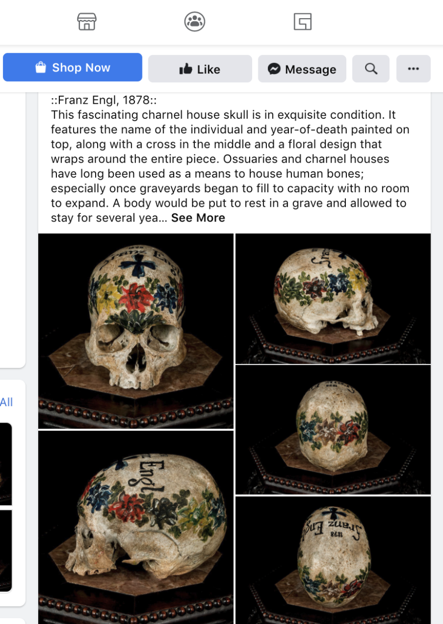 Facebook screenshot of a post showing a decorated human skull for sale. Selling human remains to collectors is legal in some U.S. states but Facebook bans it. This was one of several skulls reported, using Facebook's reporting system, by Damien Huffer of the Alliance to Counter Crime Online. Facebook responded that this and other posts do not contravene its standards.