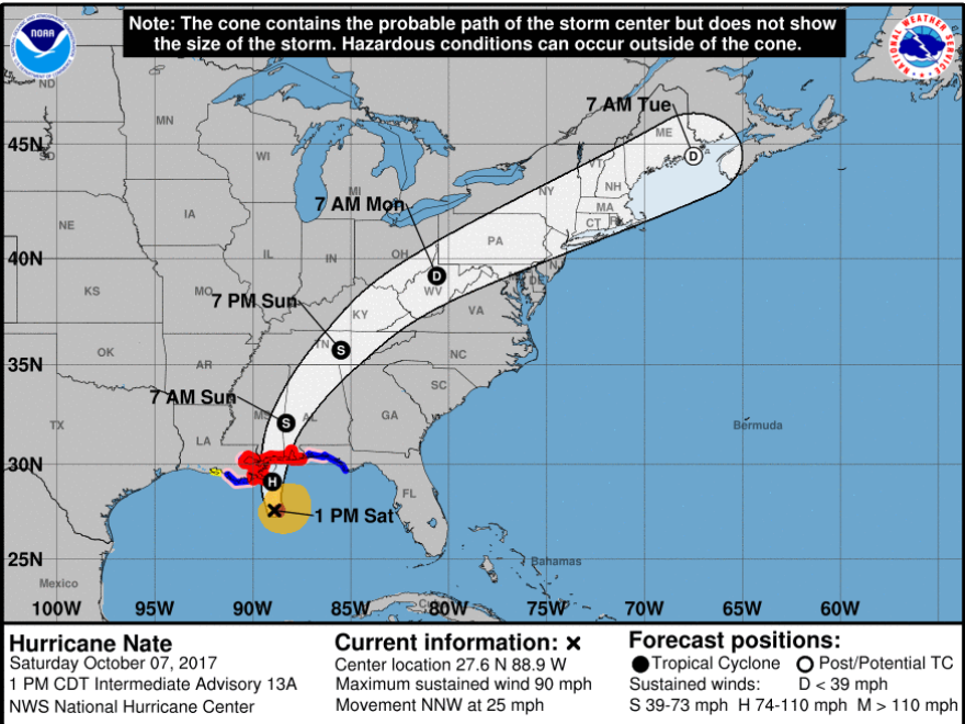 The 2 p.m., EDT, storm track graphic.