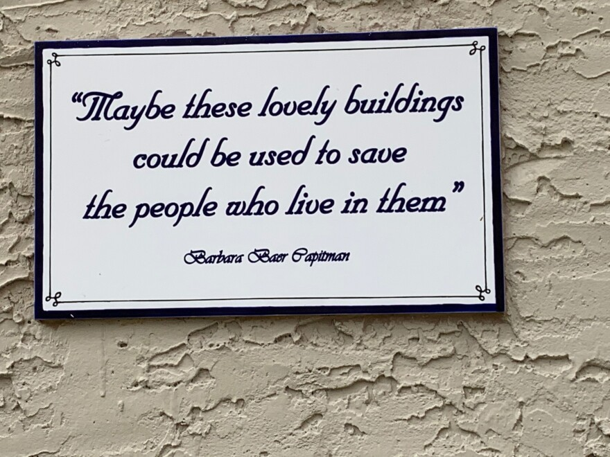 A sign outside the Villa Maria building in Miami Beach