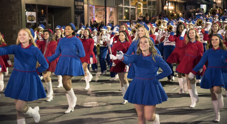 The Morgantown High School Marching Band makes its way down High Street in Morgantown on Wednesday, Nov. 11, during the city's Veterans Day parade.