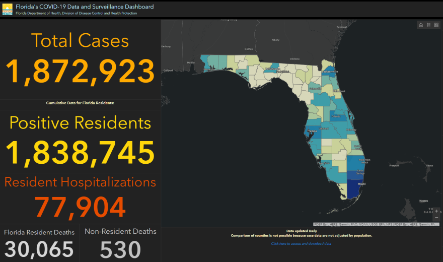 Screenshot of Florida's coronavirus dashboard on Feb. 22.