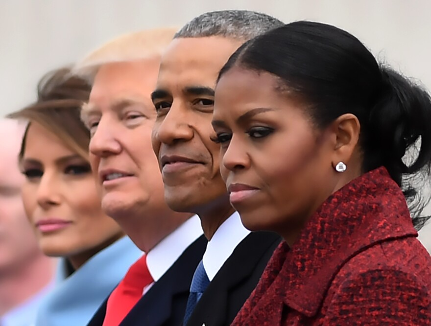 First lady Melania Trump (left), President Donald Trump, President Barack Obama, Michelle Obama at the U.S. Capitol after Trump's inauguration ceremonies in Washington, D.C., on Jan. 20, 2017.