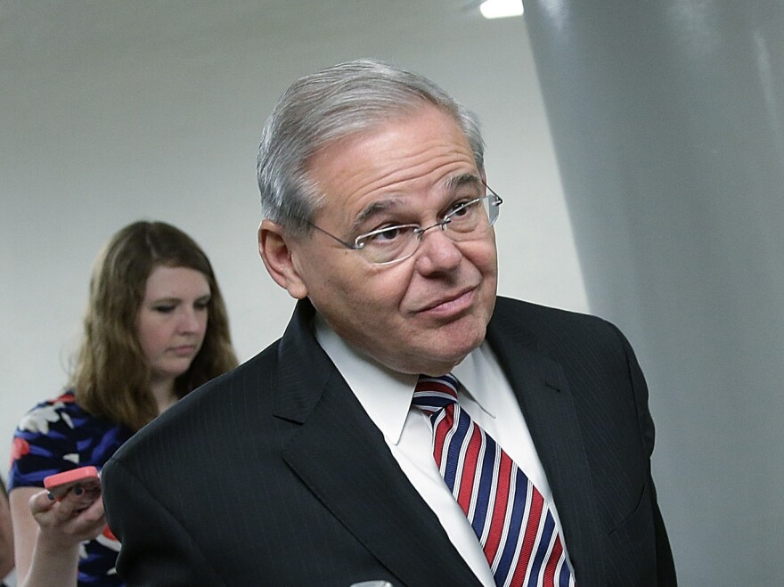 Sen. Robert Menendez on his way to the Senate floor for a series of votes last week.