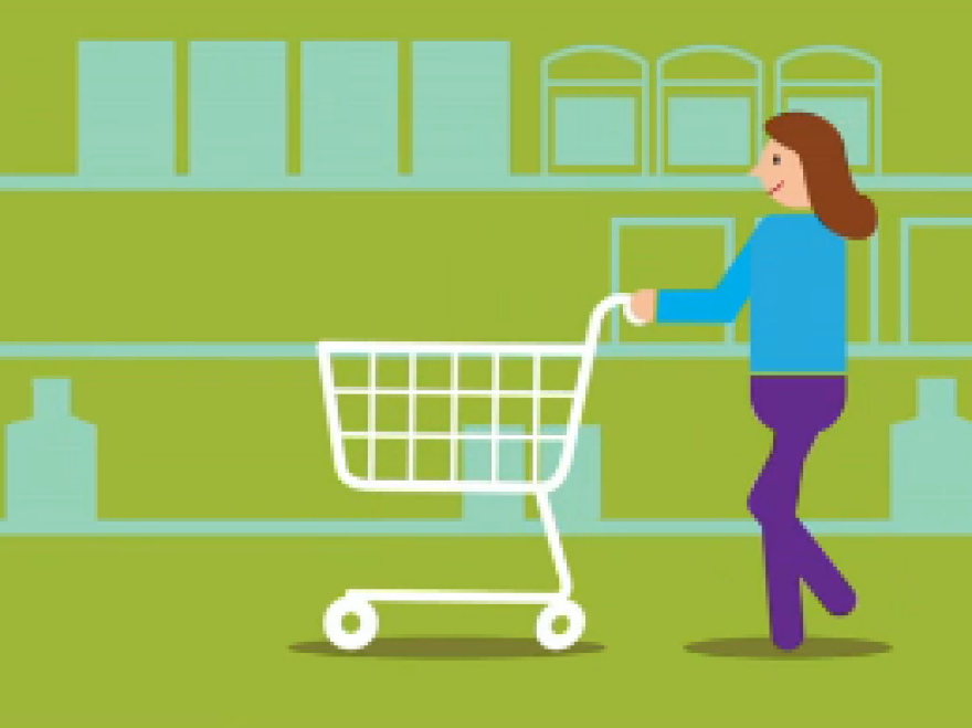 Illustration of a woman pushing a grocery cart to shop for health insurance.