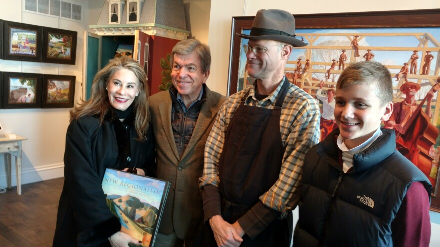 U.S. Sen. Roy Blunt, his wife, Abigail Blunt, and son, Charlie, join artist Bryan Hayes at his studio in Washington, Missouri. (Dec. 27, 2017) The building was renovated using federal historic tax credits, which Blunt supports.