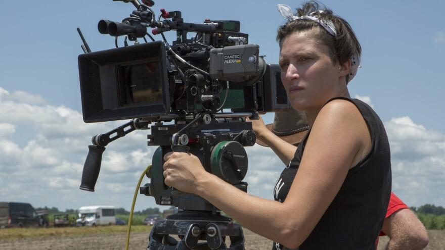Rachel Morrison on set for <em>Mudbound</em>.