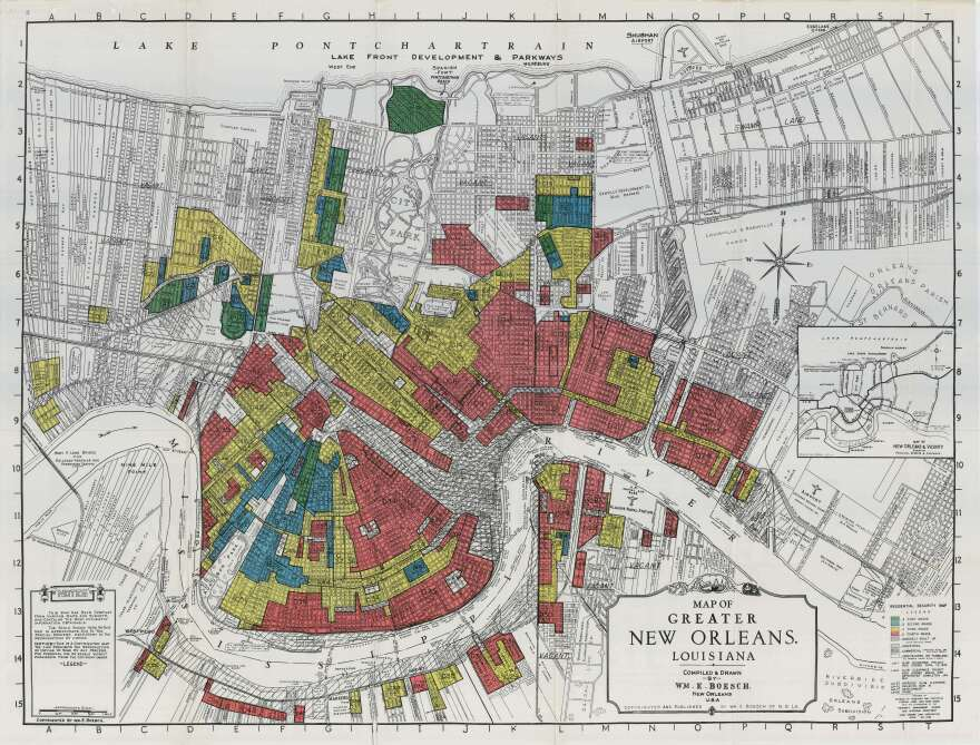 The original HOLC map of New Orleans.