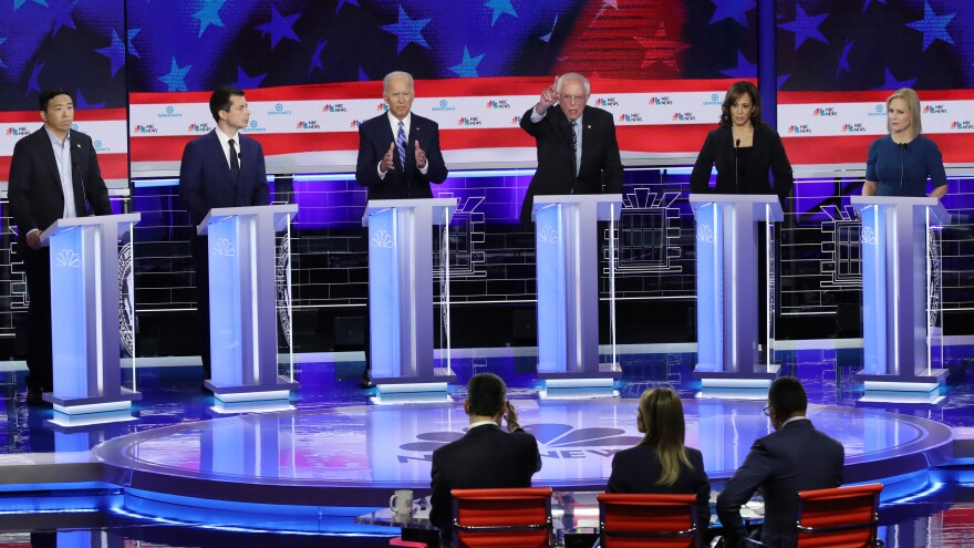 From left, Andrew Yang, Pete Buttigieg, Joe Biden, Bernie Sanders, Kamala Harris and Kirsten Gillibrand faced off in the June 27 debate. All will be back for next week's rounds.