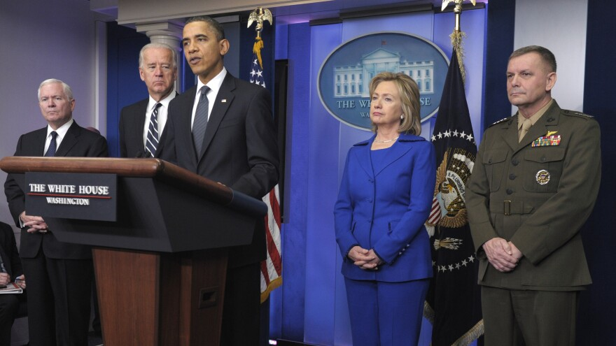 """Attorneys for former Joint Chiefs Vice Chairman Marine Gen. James Cartwright say it is """"preposterous"""" to say he betrayed the United States. Here, Cartwright is seen during an announcement by President Obama, along with, from left, Defense Secretary Robert Gates, Vice President Joe Biden, and Secretary of State Hillary Clinton."""