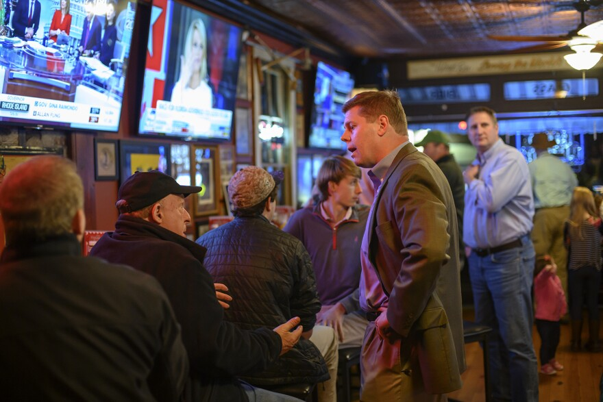 State Rep. Dean Plocher, R-Des Peres, talks to party-goers at the Village Bar in Des Peres. Plocher won re-election on Tuesday, along with most of his GOP colleagues in the Missouri House.