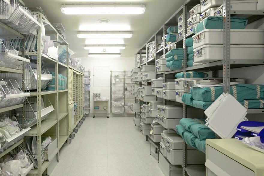 Photo of a hospital pharmacy storeroom.