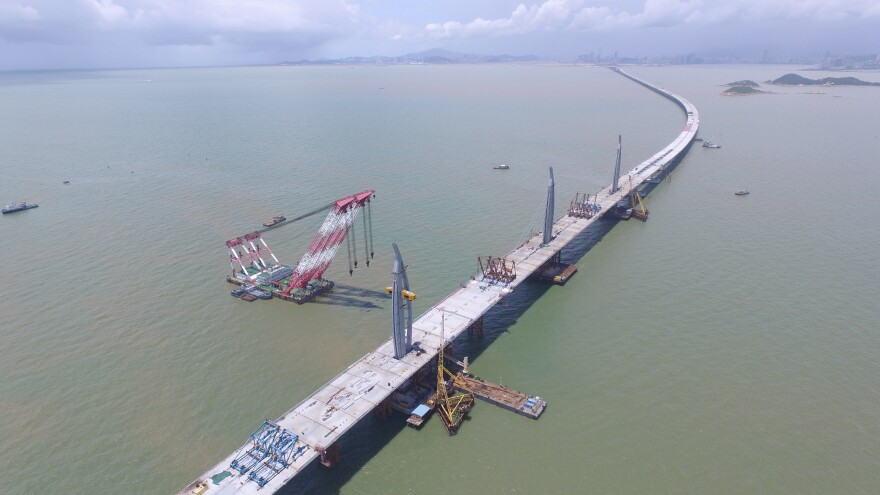 An aerial view shows construction of the Hong Kong-Zhuhai-Macau Bridge in June 2016 in Zhuhai in China's Guangdong Province.