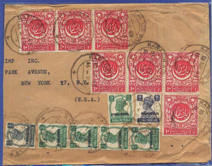 "An envelope with early stamps from Pakistan, including the first commemorative stamp (in red) designed by the renowned artist <a href=""http://artist.christies.com/Abdur-Rahman-Chughtai-15961-bio.aspx"">A.R. Chughtai</a> and issued in 1948."