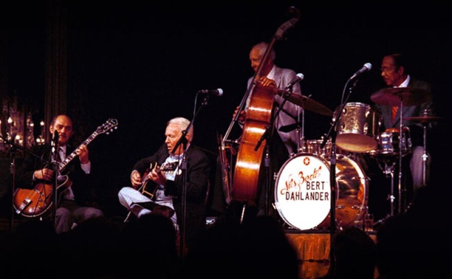 Performers Joe Pass, Herb Ellis, Bob Haggart, and Gus Johnson at the 1987 Gibson Jazz Party in Denver.