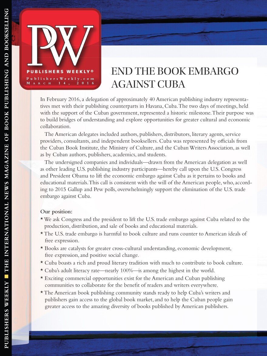 The petition will appear on the March 14 editorial cover of <em>Publishers Weekly</em>, which is one of the signatories.