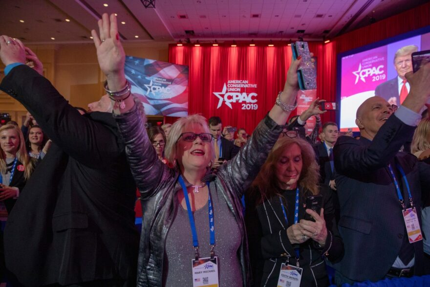 Supporters cheer for U.S. President Donald Trump during CPAC 2019 on March 02, 2019 in National Harbor, Maryland.