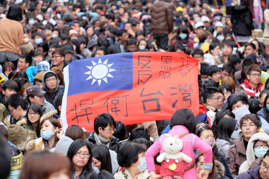 "Protesters display a Taiwan flag with the words ""protect Taiwan"" on it outside Parliament in Taipei on March 22."