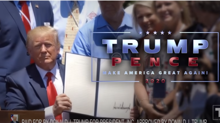 During last Thursday's NFL game, the Trump campaign aired this ad in 21 local TV markets in swing states.