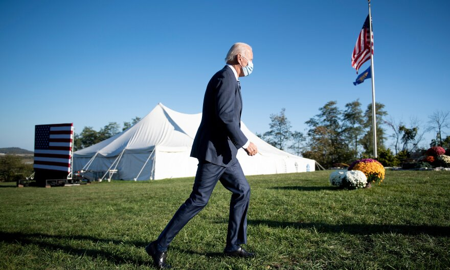 Biden leaves the Gettysburg battleground after delivering remarks at the historic Civil War site in Pennsylvania in October.