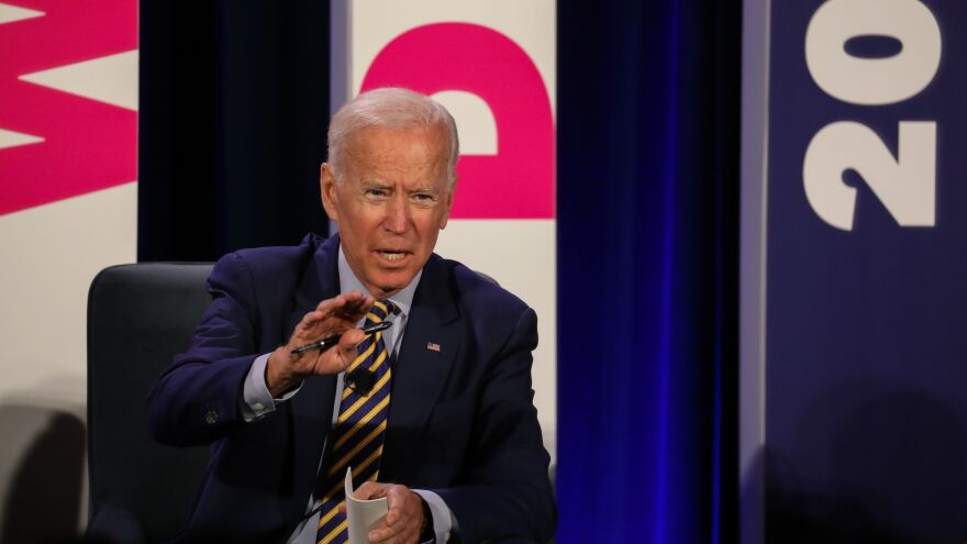 Former Vice President Joe Biden addresses a Planned Parenthood Action Fund candidate forum in June 2019 in Columbia, S.C. The group declined to back a candidate during the Democratic primaries but announced its support for Biden on Monday.