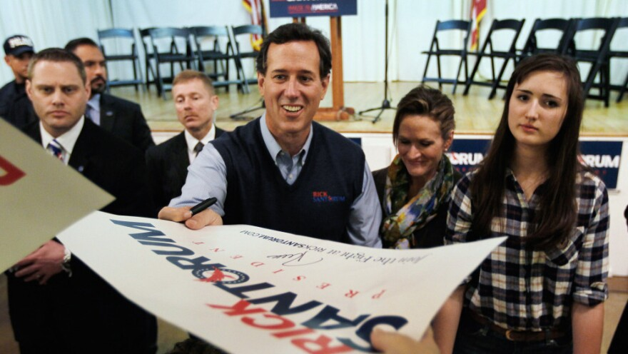 Rick Santorum campaigns Monday in Westerville, Ohio.
