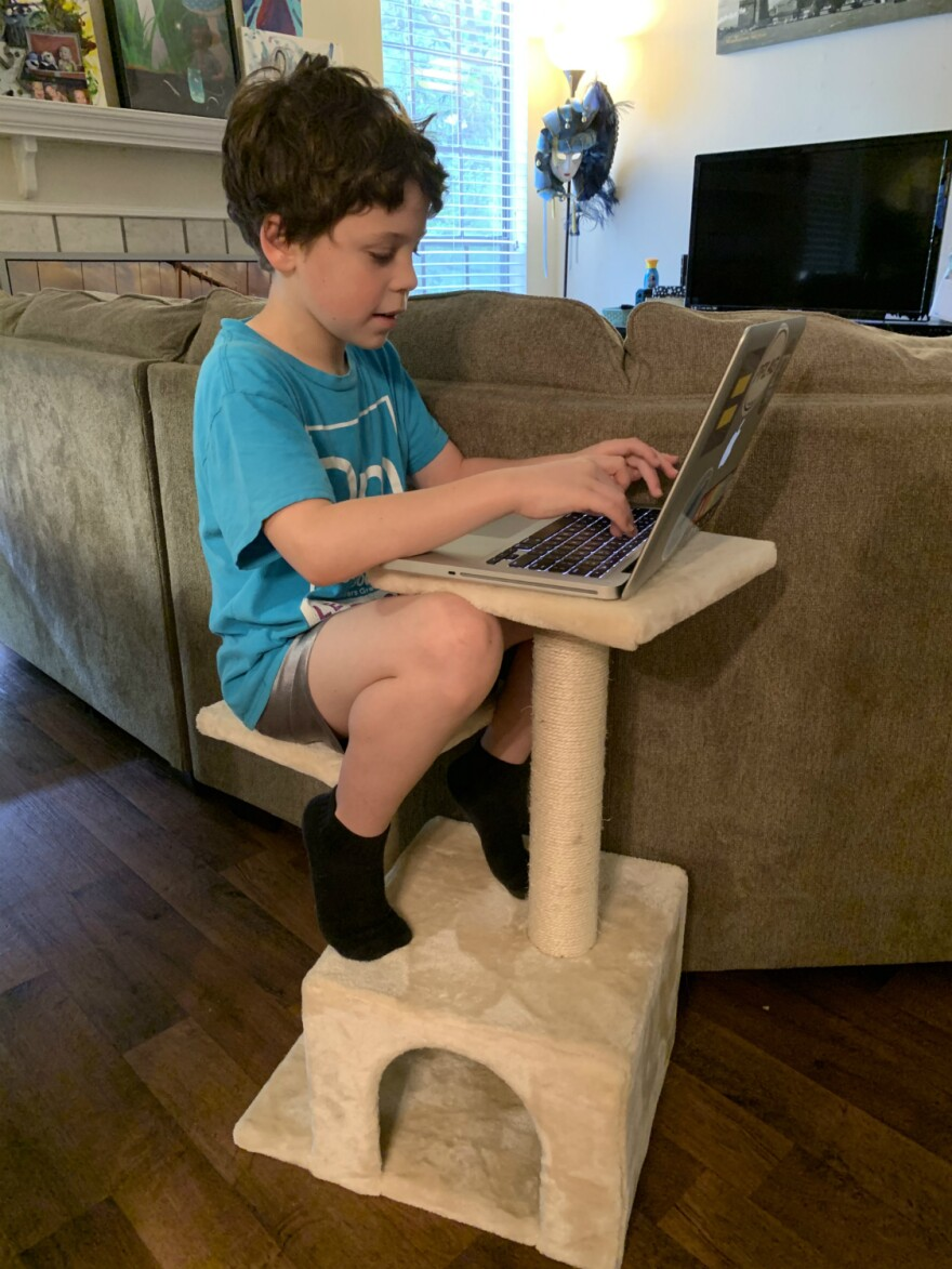 Rowan, 8, takes a break from his kid-sized desk to sit on a cat tower while his mom, Meagan Bingaman works from home.