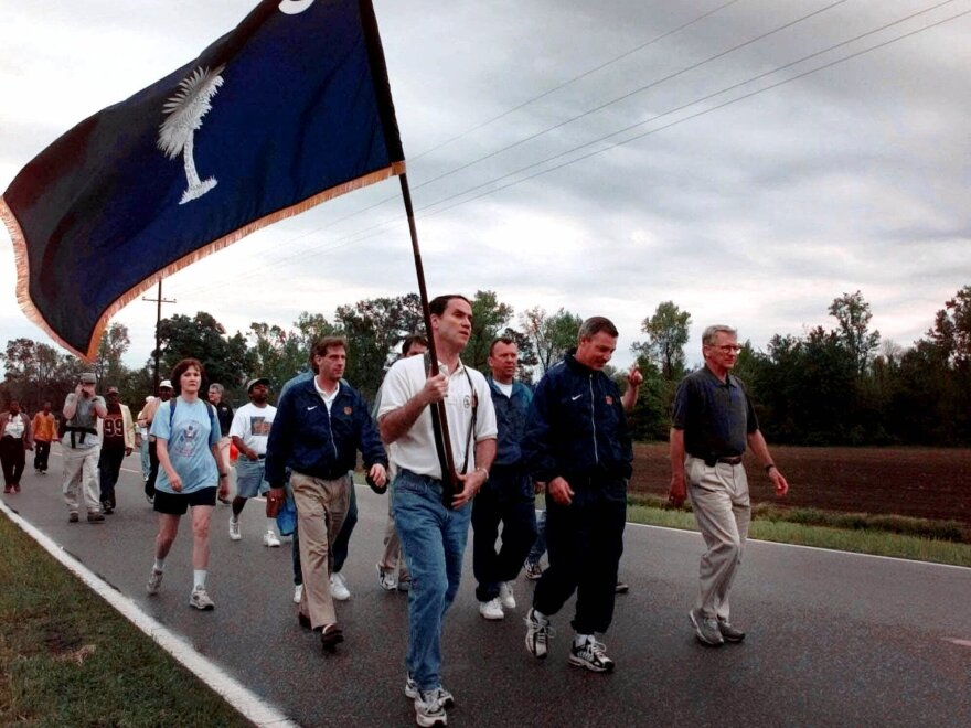 In 2000, Charleston Mayor Joe Riley (right) led hundreds of marchers 120 miles to Columbia, S.C., demanding that the Confederate flag be removed from the top of the state Capitol.