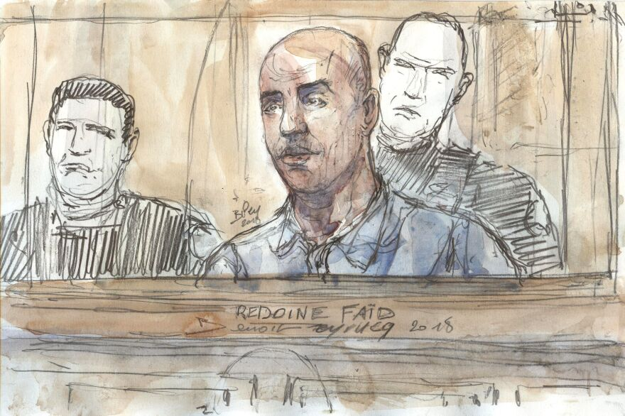 A court sketch of French armed robber Redoine Faid at a February 2018 session of his trial in Paris over the 2010 death of a French police officer.