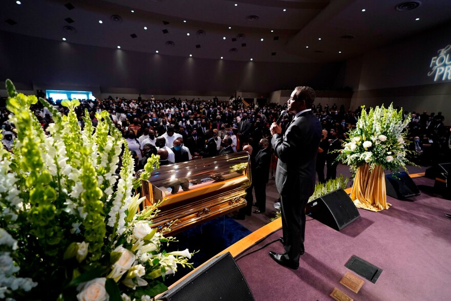 The Rev. Remus Wright speaks during Tuesday's funeral service for George Floyd at The Fountain of Praise church in Houston.