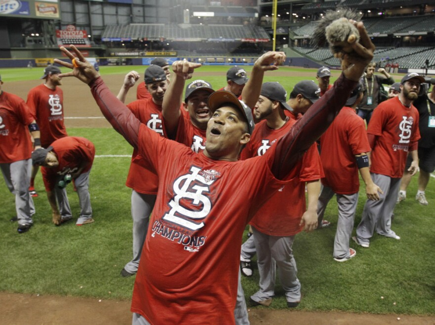 <p>The Cardinals' 12-6 Sunday in Milwaukee set up a St. Louis-Texas matchup in the World Series. </p>