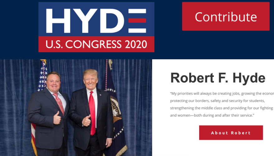 Robert Hyde posing with President Trump. Hyde has emerged as the latest figure in the impeachment saga following the release of messages in which he discusses surveillance of former U.S. Ambassador Marie Yovanovitch.