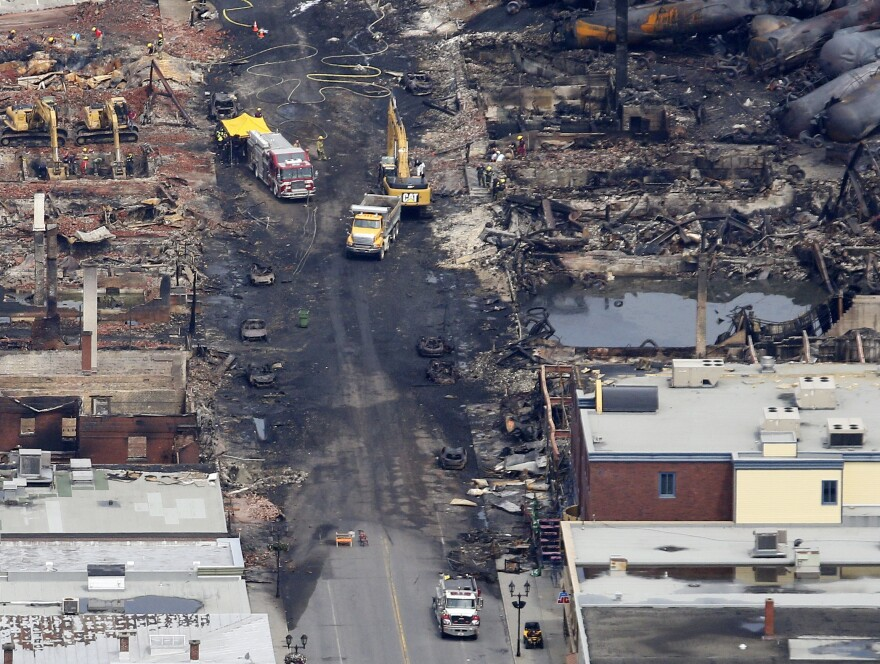 A view from above showing some of the destruction in Lac-Mégantic, Quebec, after Saturday's train derailment, explosions and the fires that followed.