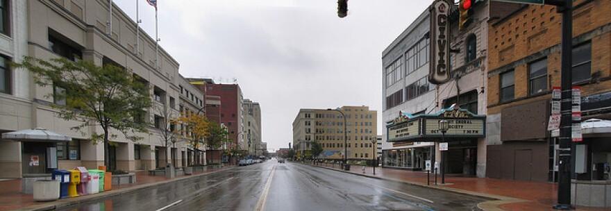 A photo of Akron's Main Street.