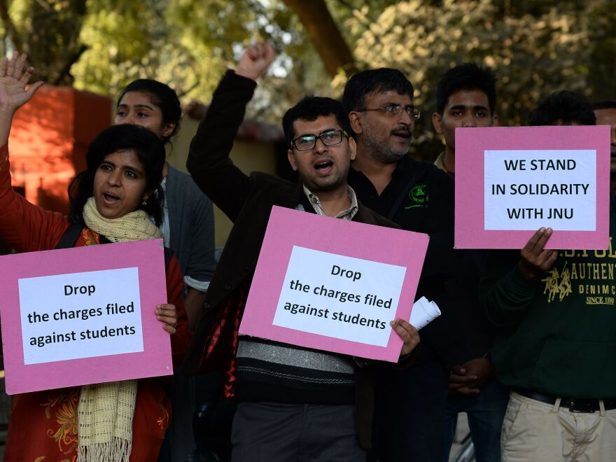 Indian students protest against the Feb. 12 arrest of Kanhaiya Kumar, president of the Student's Union of Jawaharlal Nehru University.
