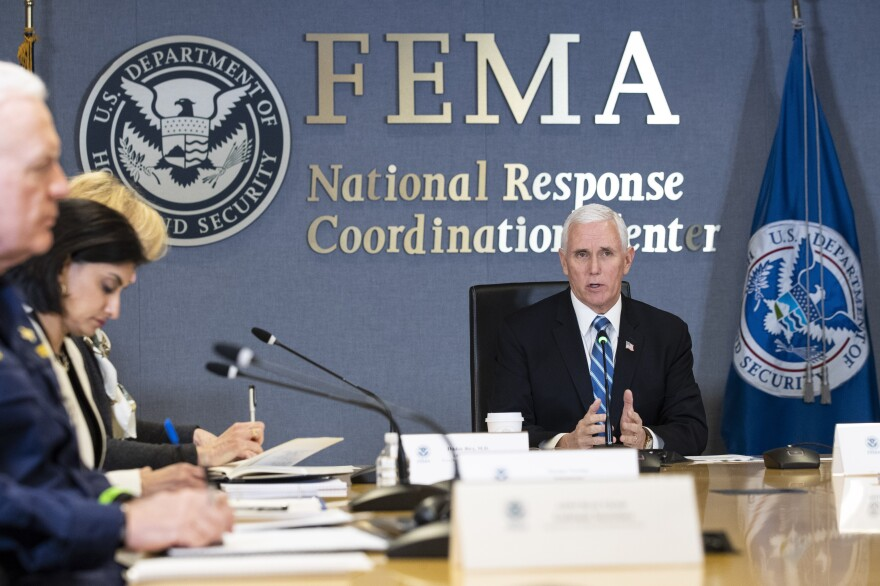Vice President Mike Pence speaks as he leads a video teleconference with governors about the coronavirus, during a trip to FEMA on March 23. the Federal Emergency Management Agency is keeping a tight grip on critical medical supplies leaving the country – and coming in from overseas. This has frustrated states who are in need of masks, gowns, ventilators and other medical supplies.