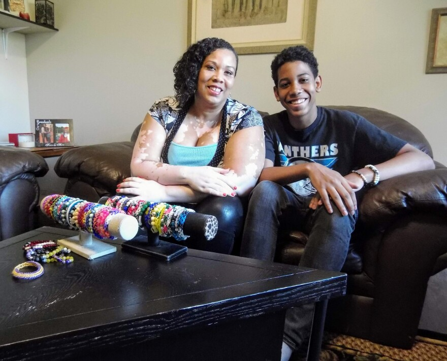 Amy Anderson lives in northwest Charlotte with her son, Aaron, 13. Their business AnderBerry Bracelets is their main income source, and making the monthly rent is a struggle.