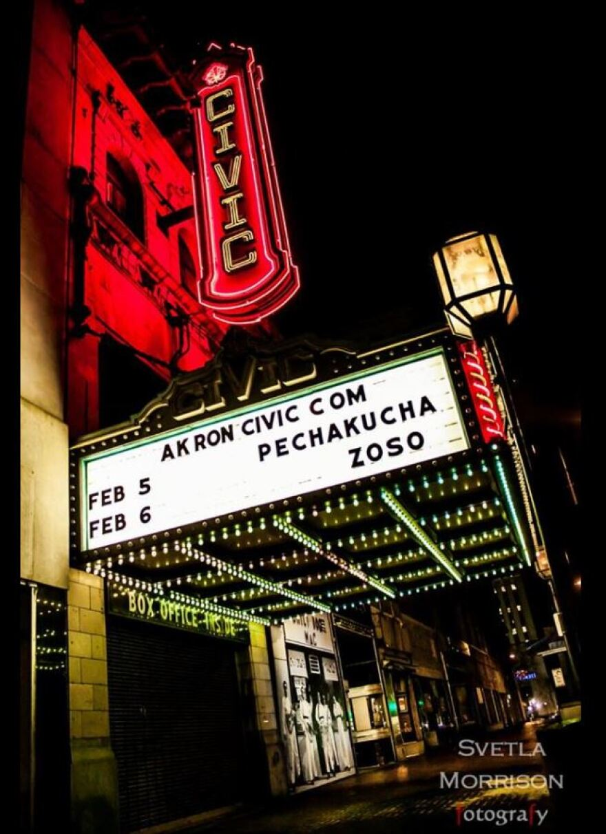 photo of the Akron Civic Theatre marquis
