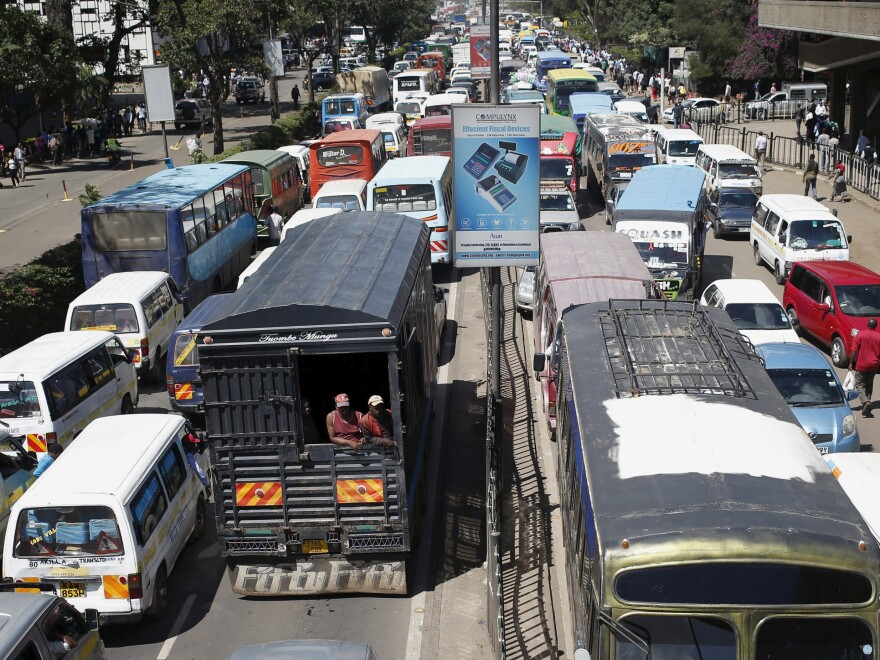 Traffic stands still in Nairobi. People in Kenya's capital don't like getting into cabs driven by strangers. They prefer to call drivers they know or who their friends recommend.