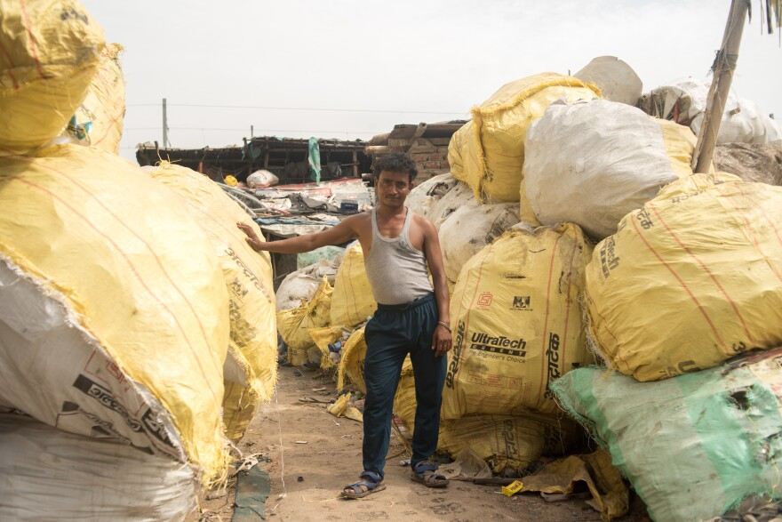 Sheikh Rahim scavenges plastic on Ghazipur landfill for about 5 hours a day, then sorts it and puts it in huge bags.