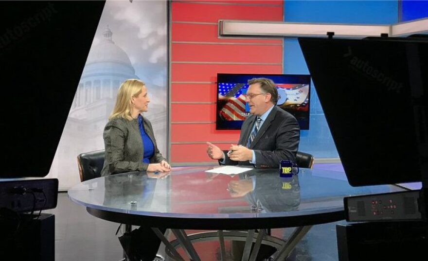 Arkansas Attorney General Leslie Rutledge on the set of Talk Business & Politics.