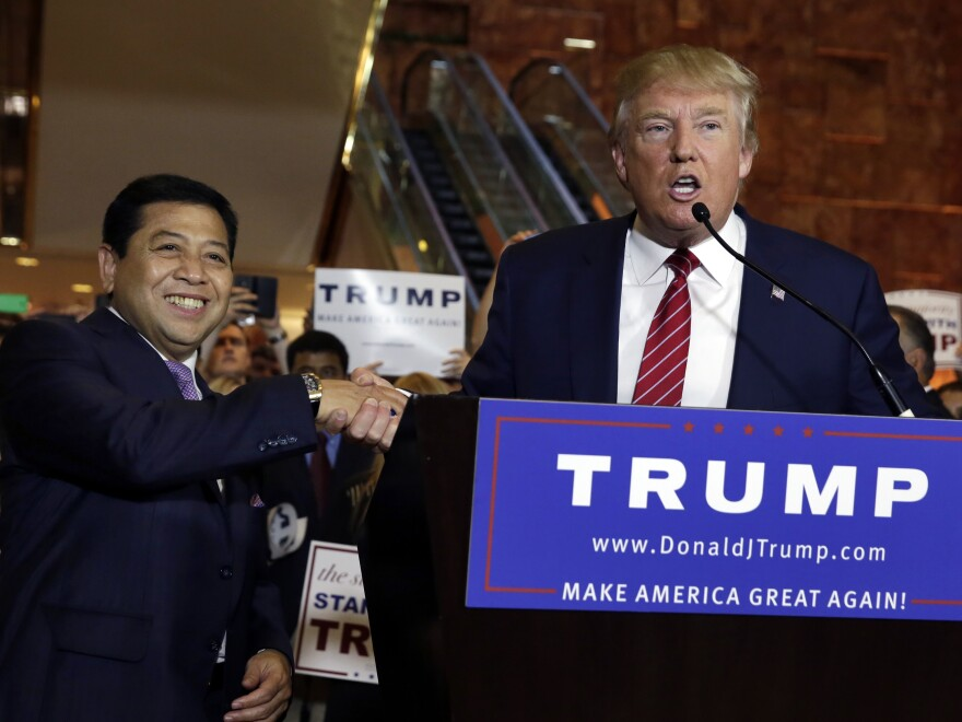 Donald Trump appeared with Setya Novanto, then speaker of the House of Representatives of Indonesia, at Trump Tower in New York in September 2015. Novanto resigned from his political post in December 2015 after corruption accusations.