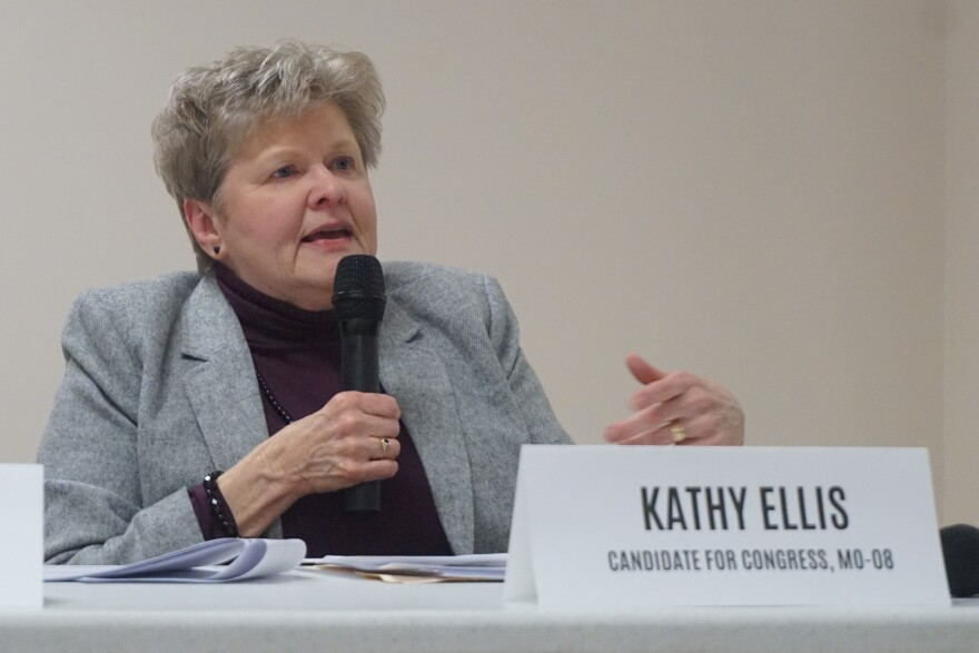 Kathy Ellis addresses a public forum on income inequality in Rolla (November 2019)