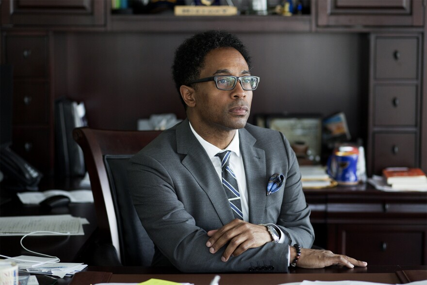 St. Louis County prosecutor Wesley Bell poses for a photo at his office inside the Buzz Westfall Justice Center in downtown Clayton, Mo.