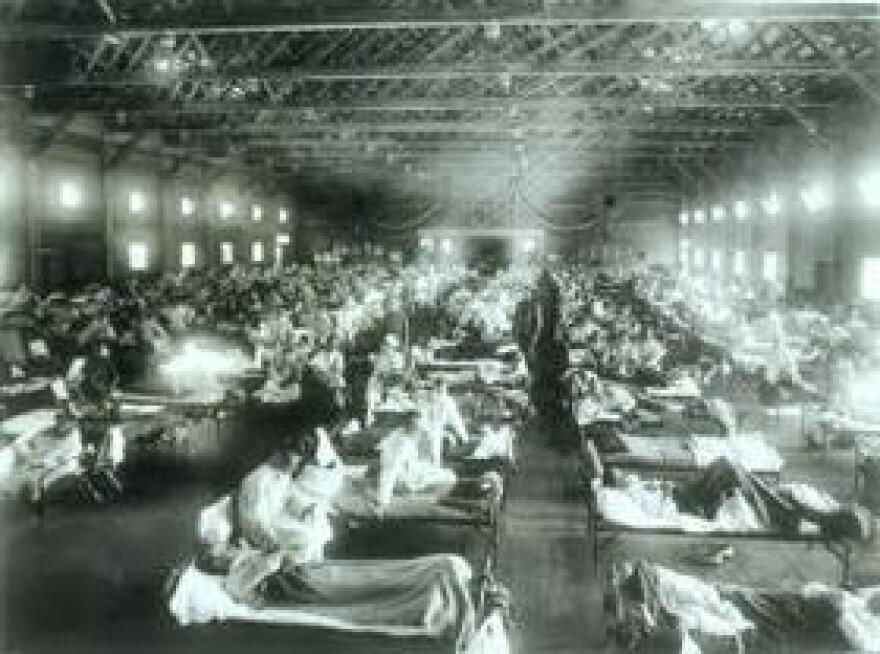 Spanish Flu spread around the globe in 1918, killing up to 100 million people.
