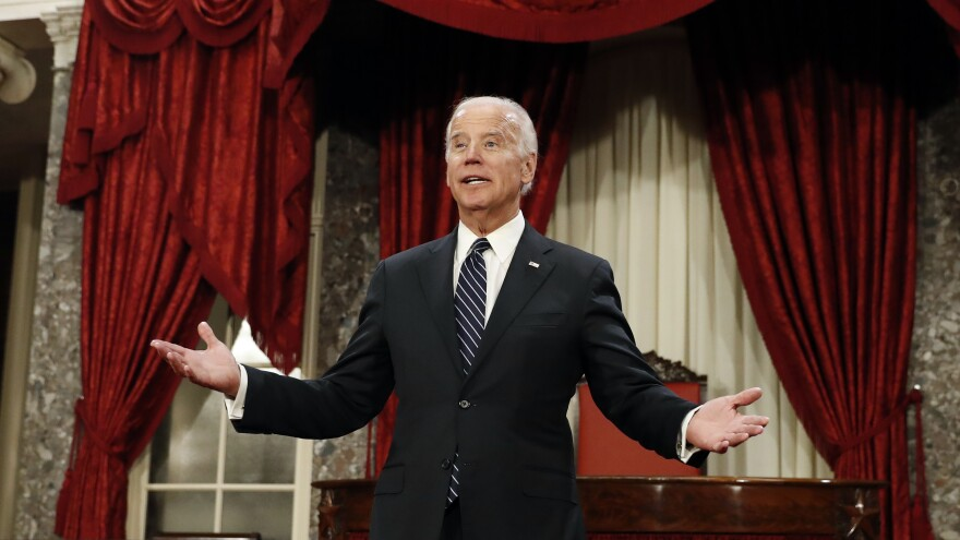 Vice President Biden pauses between mock swearing-in ceremonies in the Old Senate Chamber on Capitol Hill Tuesday. Biden presided over the official Electoral College tally amid several interruptions.