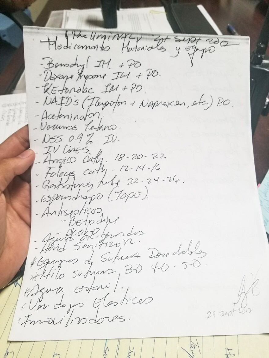 Page 1 of a 6-page long list of medical supplies that were requested by Wilbert Ruíz, the assistant mayor of Aguada.