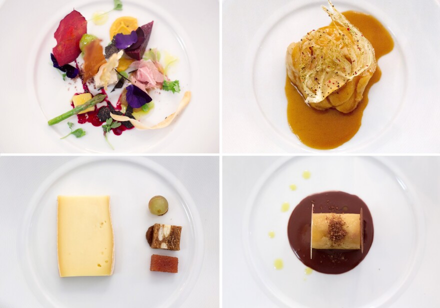 """A sampling of the multicourse menu served at the <em>Gout de France</em> dinner at the French embassy in Washington, D.C.: (clockwise from top left): seasonal vegetables with winter truffle Bayonne ham crisps; slowly cooked monkfish with fennel pollen flavors in """"Armoricaine"""" sauce; Ariane apple and Guanaja chocolate <em>onctueux</em>; Saint-Nectaire cheese and grilled bread with nuts and raisins."""