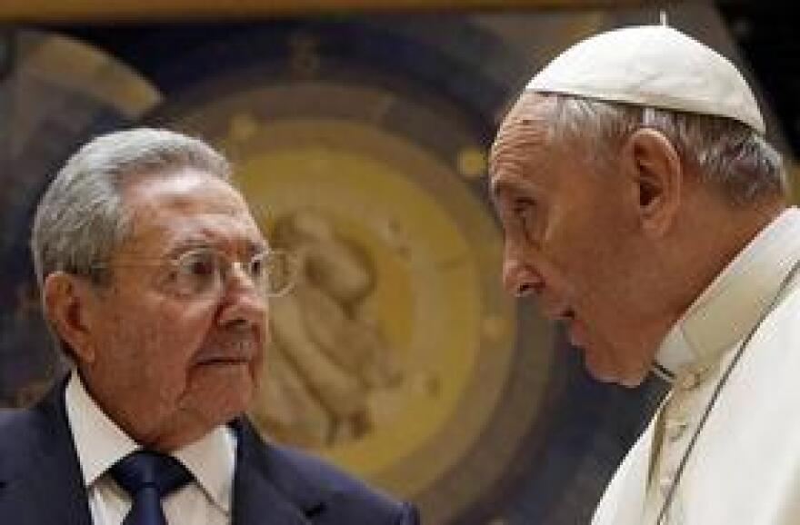 Cuban leader Raul Castro, left, meets with Pope Francis at the Vatican in May.