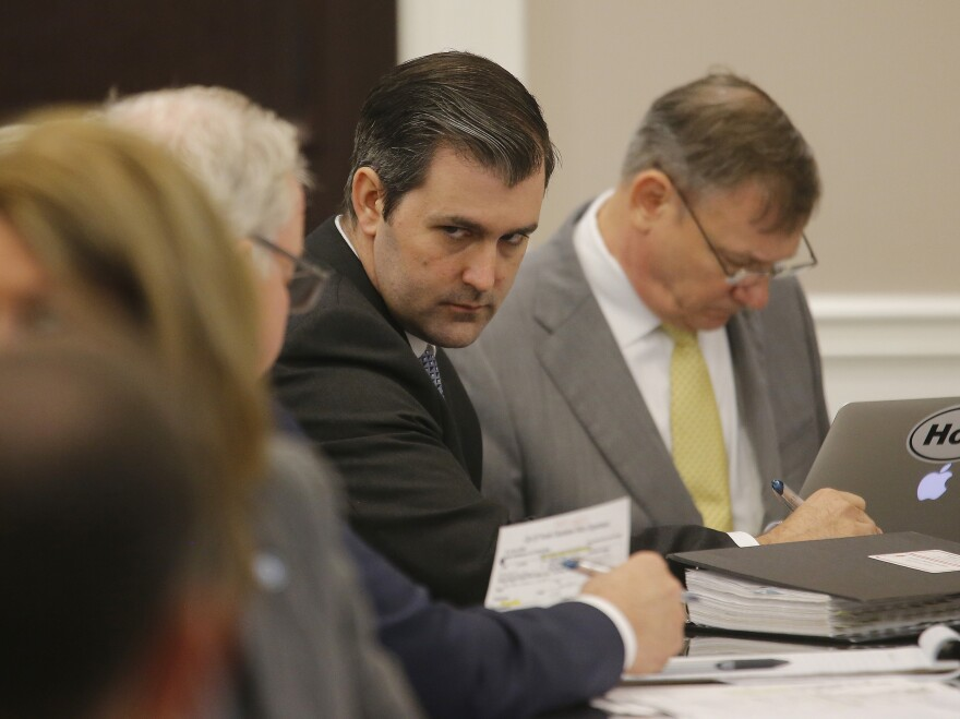 Former North Charleston police Officer Michael Slager (second from left) in the courtroom in Charleston, S.C., on Thursday.